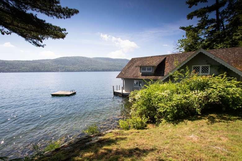 boathouse and lake