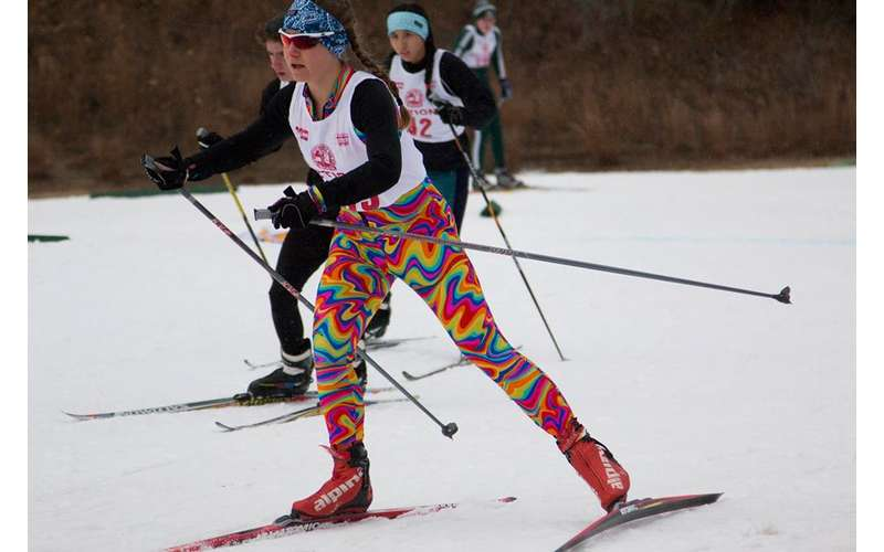 cross country skiers in a race