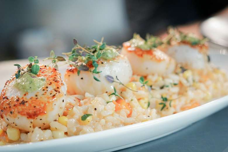 scallops on rice or risotto