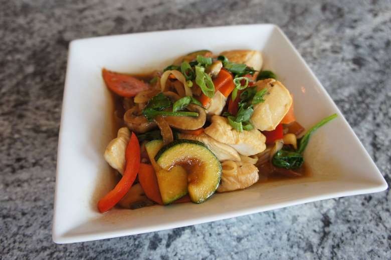 asian dish with vegetables and chicken