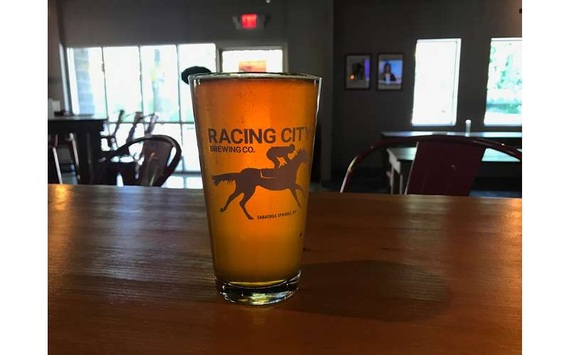 Racing City Brewing Co. beer on counter