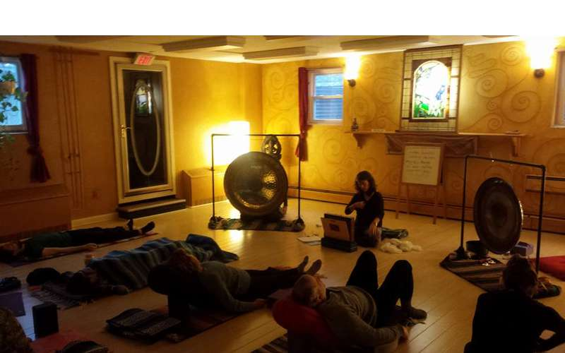 a yoga class with music