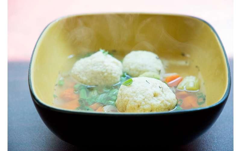 steaming matzo ball soup