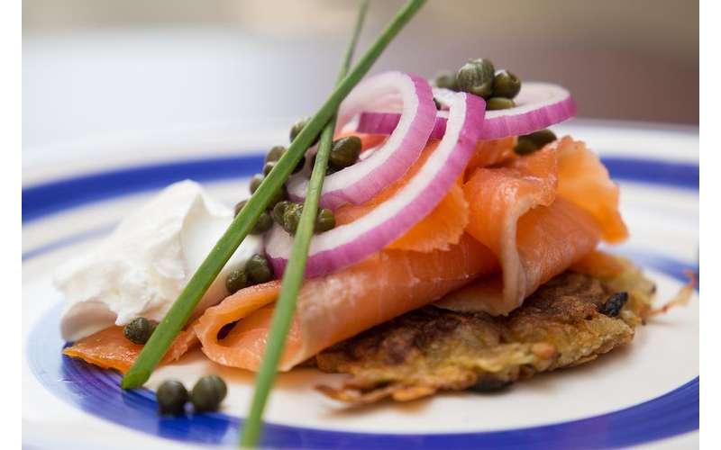 latke with smoked salmon