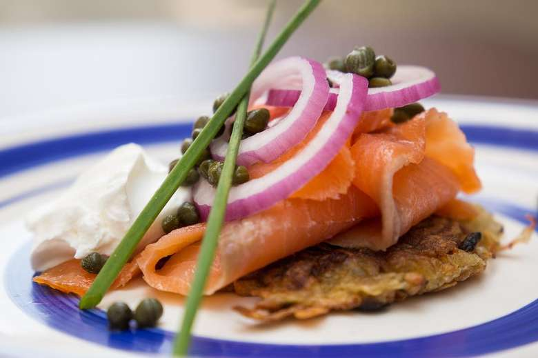 latke with smoked salmon