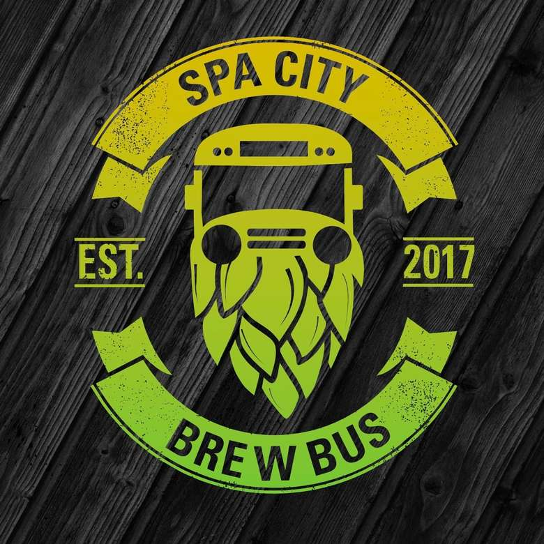 the logo for the spa city brew bus