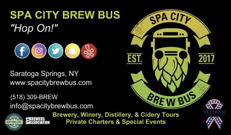 a promotional image for the spa city brew bus