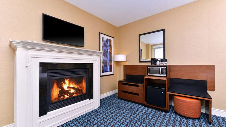 fireplace in a suite at Fairfield Inn and Suites