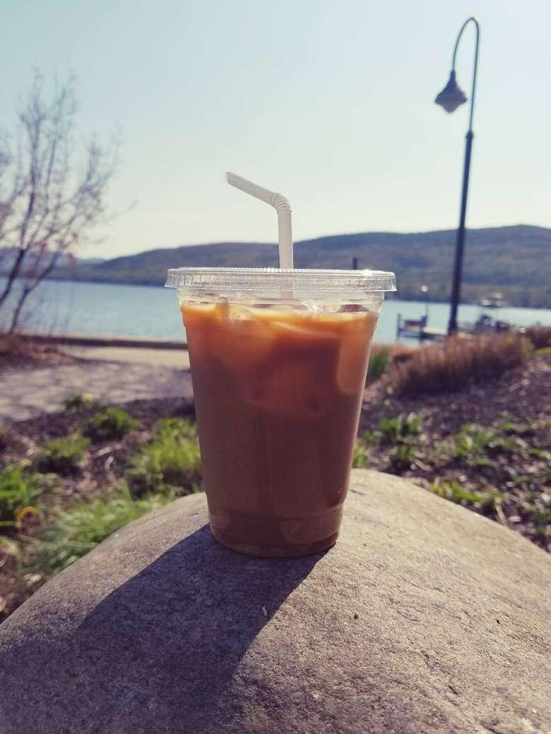 iced coffee by lake