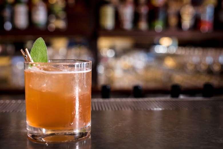 a cocktail on a bar