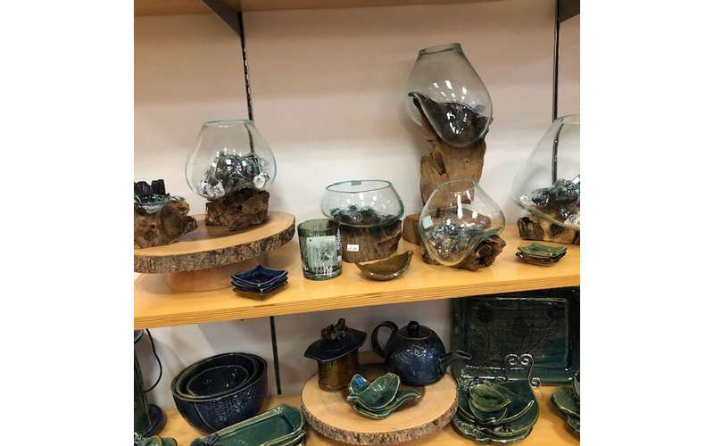 glassware and locally handmade handmade pottery