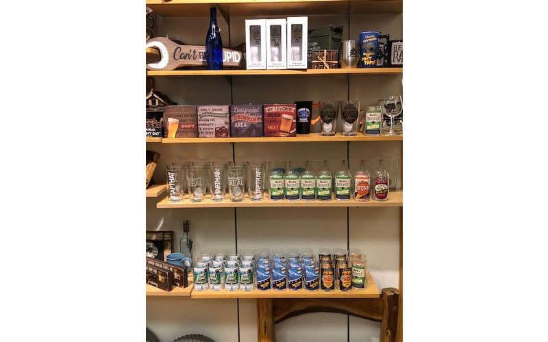 shelves of glasses and souvenirs
