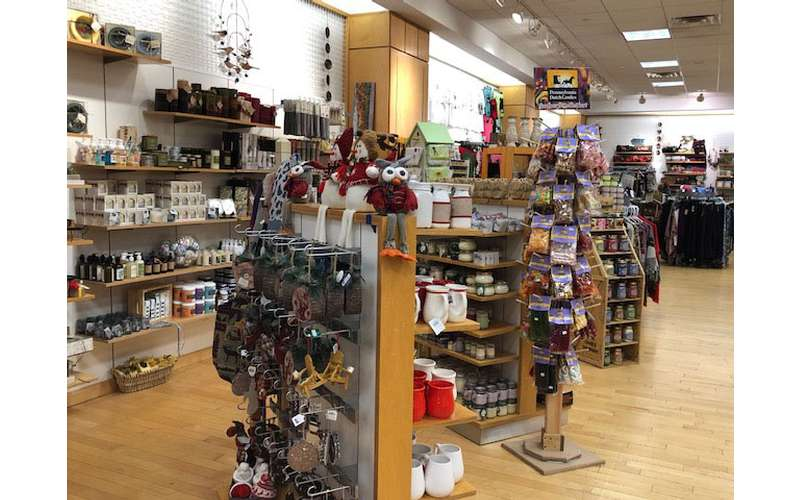 shelves of gifts and products