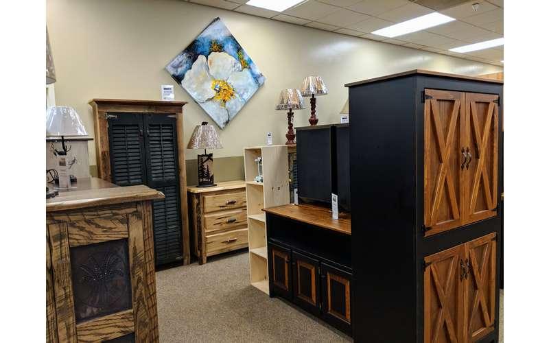 furniture and art in a furniture store