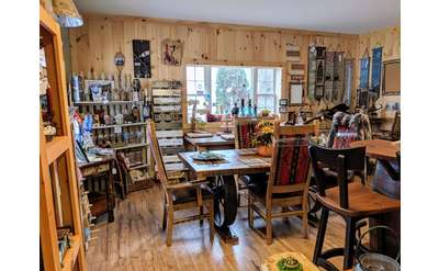 a showroom of rustic furniture and decor