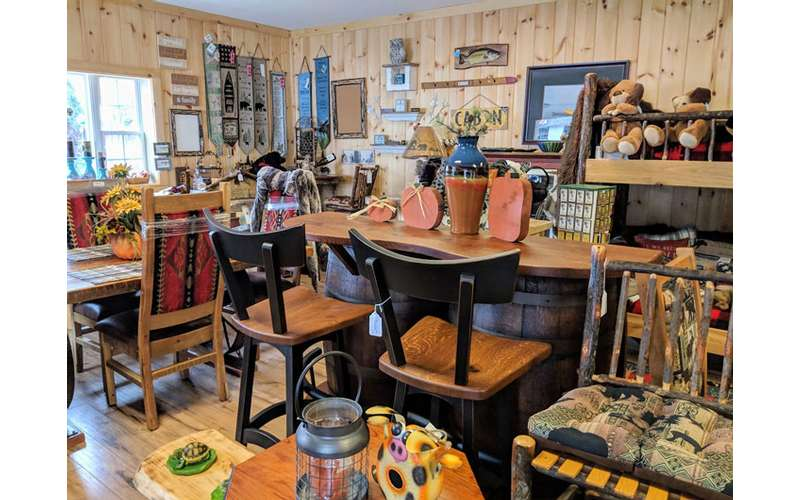 counter with chairs and rustic decor