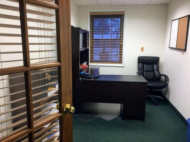inside of an office, open door