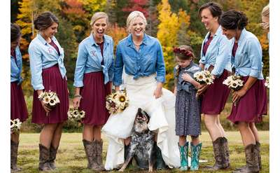 group of women at a country themed wedding affair