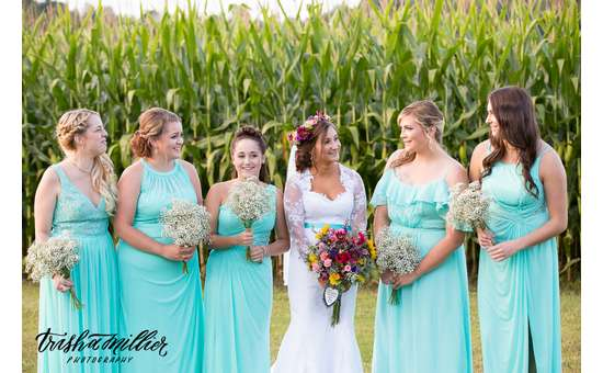 bride with five bridesmaids