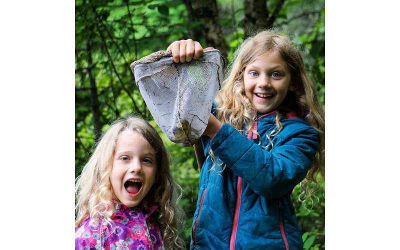 little girls holding a frog in a net they caught