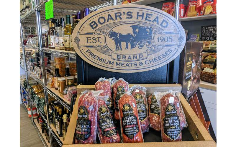 Boar's Head sign with meat