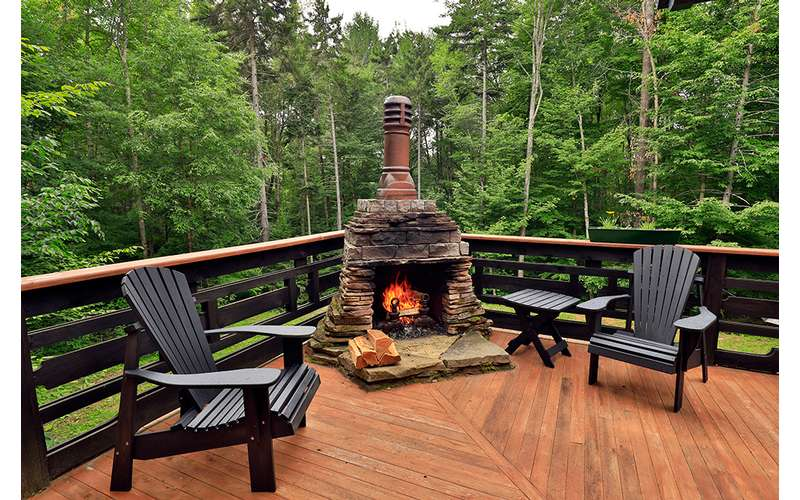 fireplace on a wooden deck
