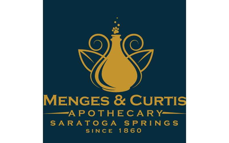 the logo for menges and curtis apothecary