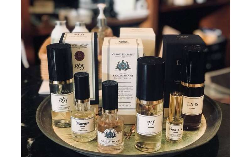 a display of scent products