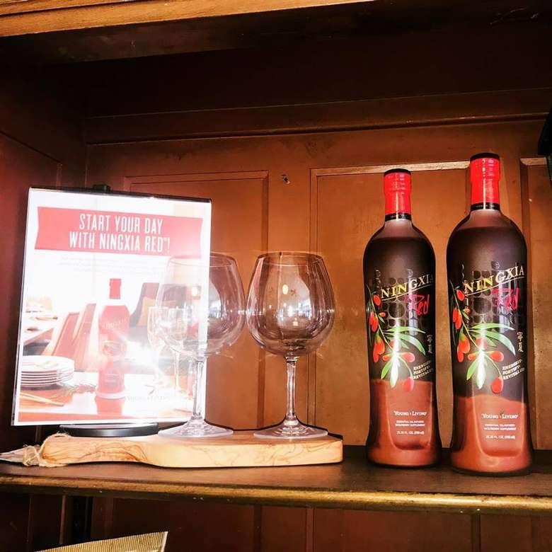 essential oil infused natural energy drink on display