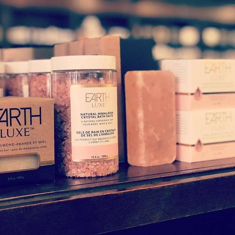 Himalayan salt bath products on a shelf