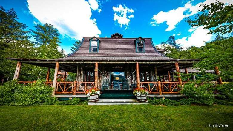 Main Lodge porch faces the lake