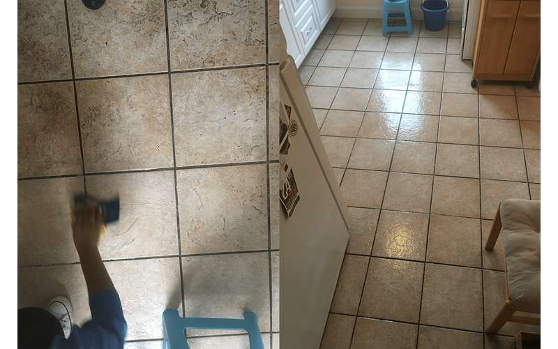 before and after photos of a dirty and clean floor
