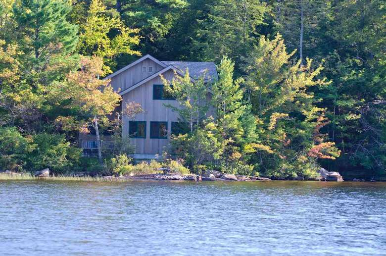 a lakefront home surrounded by trees