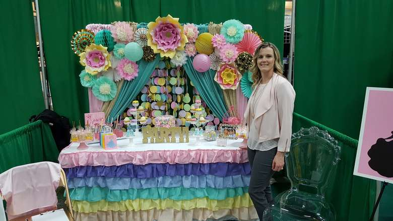 woman standing at party display
