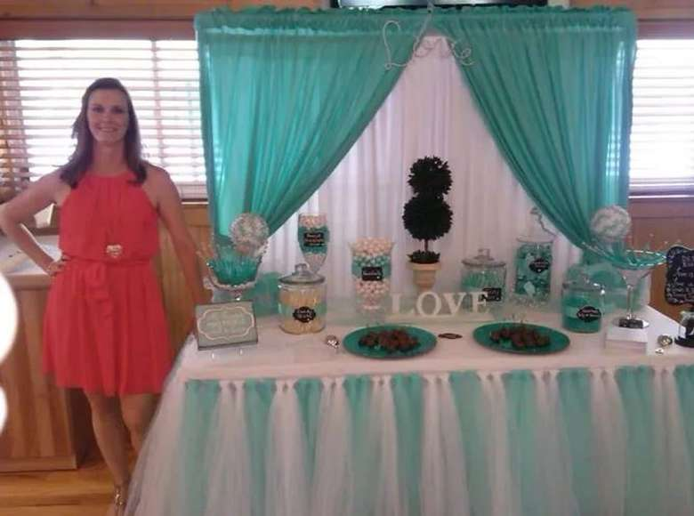 woman in front of party spread