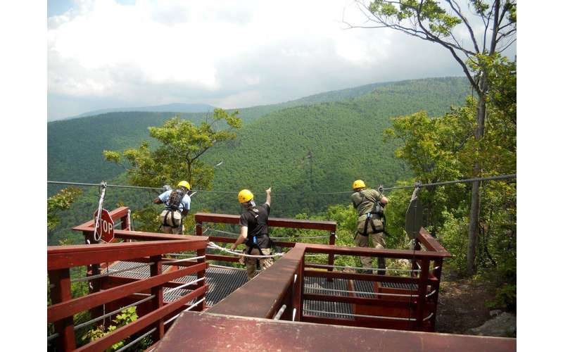 people preparing to go ziplining