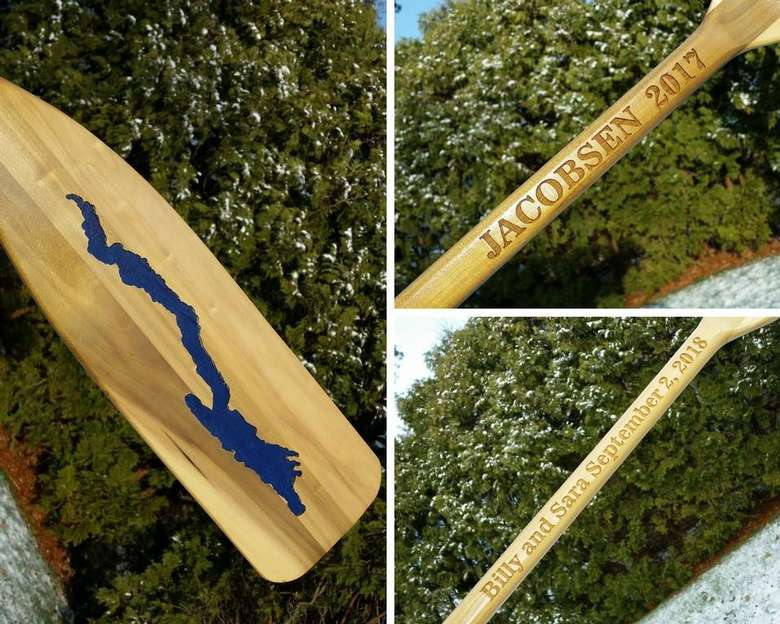 Collage of three photos of a personalized paddle