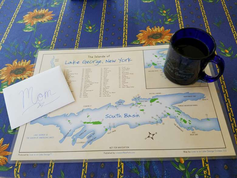 Laminated map of the Islands of Lake George including some fun facts.. Two-sided.