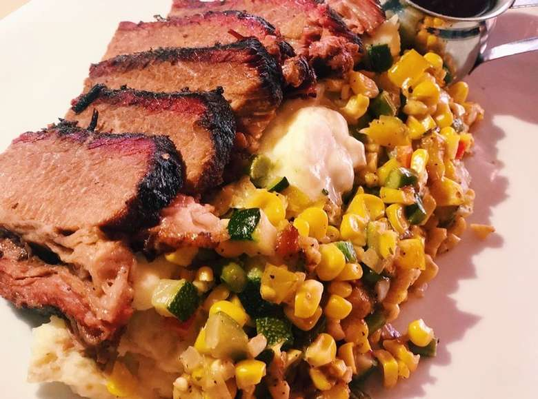 bbq meat and corn dish