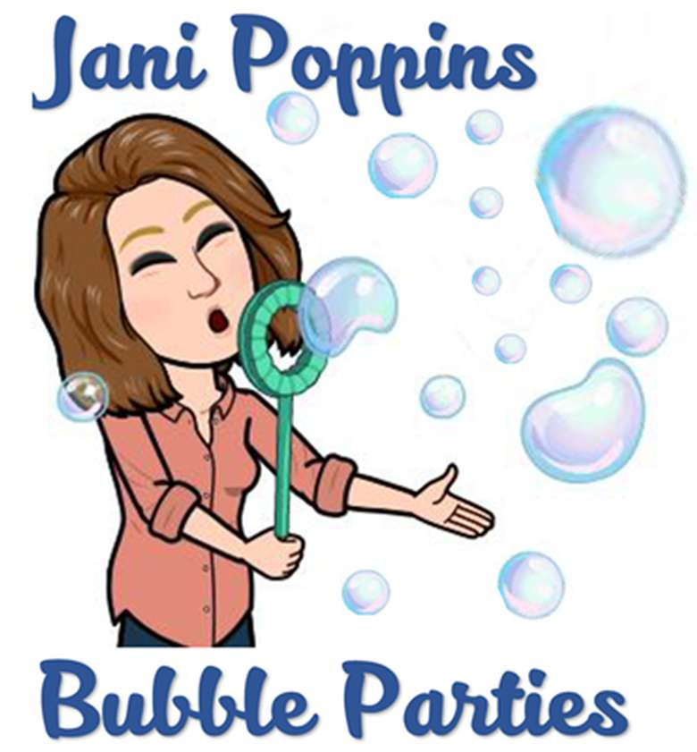 jani poppins bubble parties logo and photo