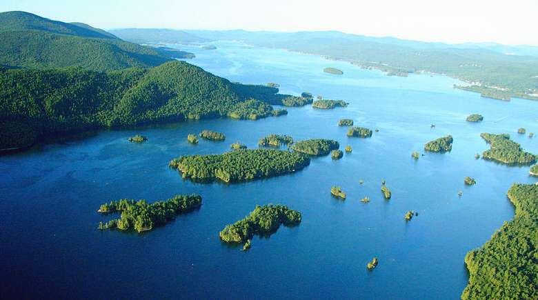 Aerial view of the Lake George Narrows