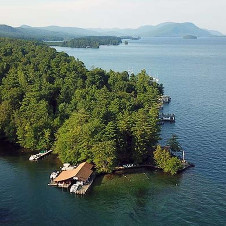 Aerial view of Lake George with an island in the foreground