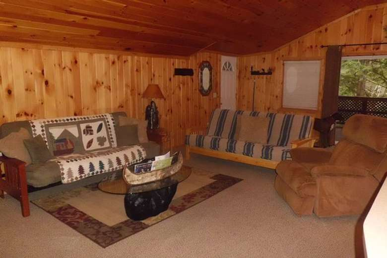 living room with furniture in a rustic cottage