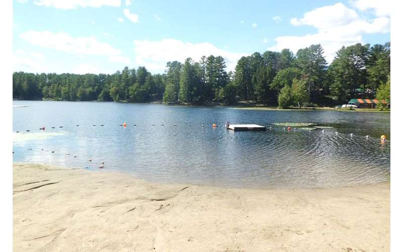 sandy beach and a lake