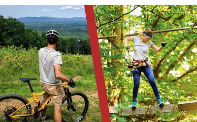 split image with mountain biker and aerial treetop adventurer