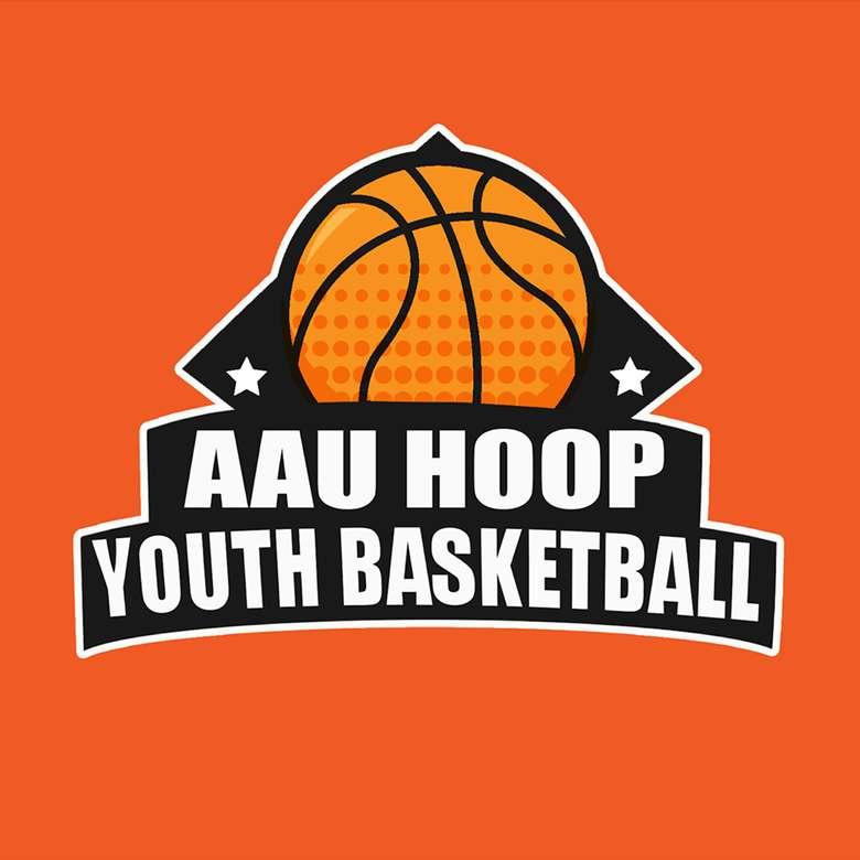 orange aau hoop youth basketball logo