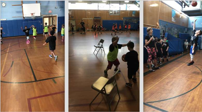 three photos of kids playing basketball in a gym