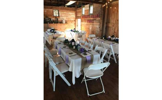 wedding tables in a rustic room