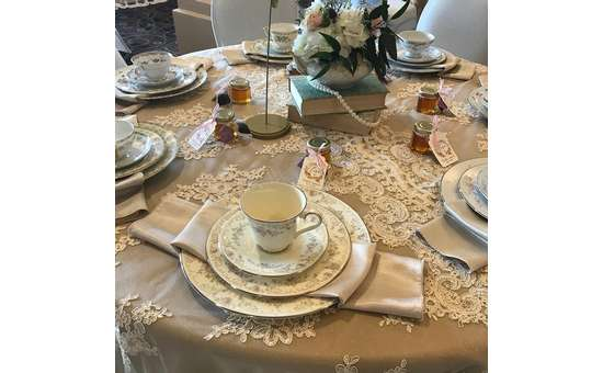 plates and cups on a wedding decorated table