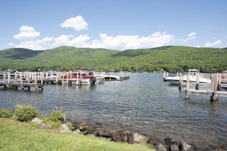 boat dock space on the lake shoreline